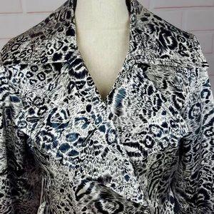 Animal print trench coat rain jacket with belt